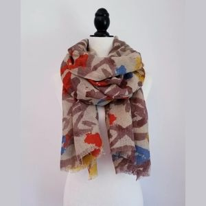 MODENA Abstract Floral Scarf O/S, multi colour
